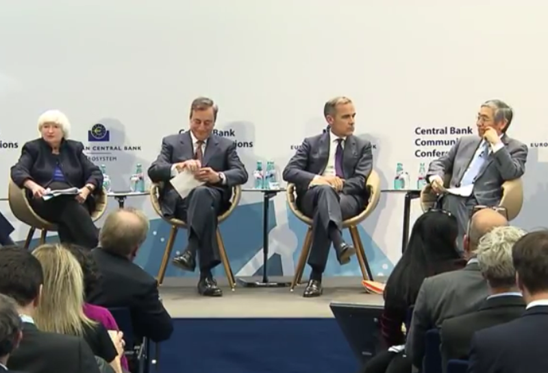 CB panel at the ECB  hosting a conference on central bank communications