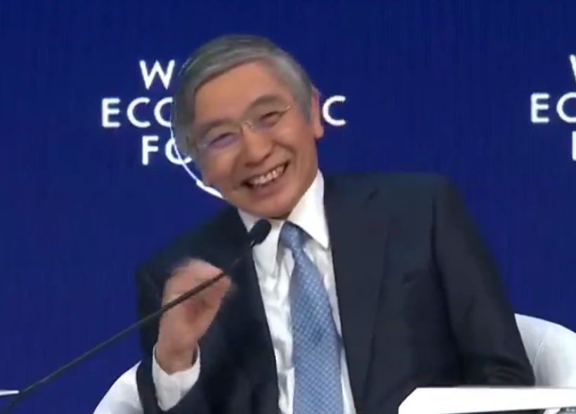 BOJ's Kuroda gives a monetary policy speech in Davos