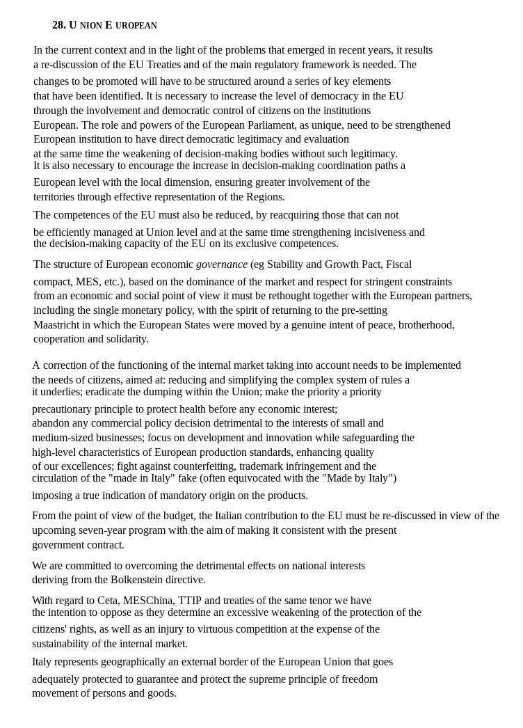 Italian government contract