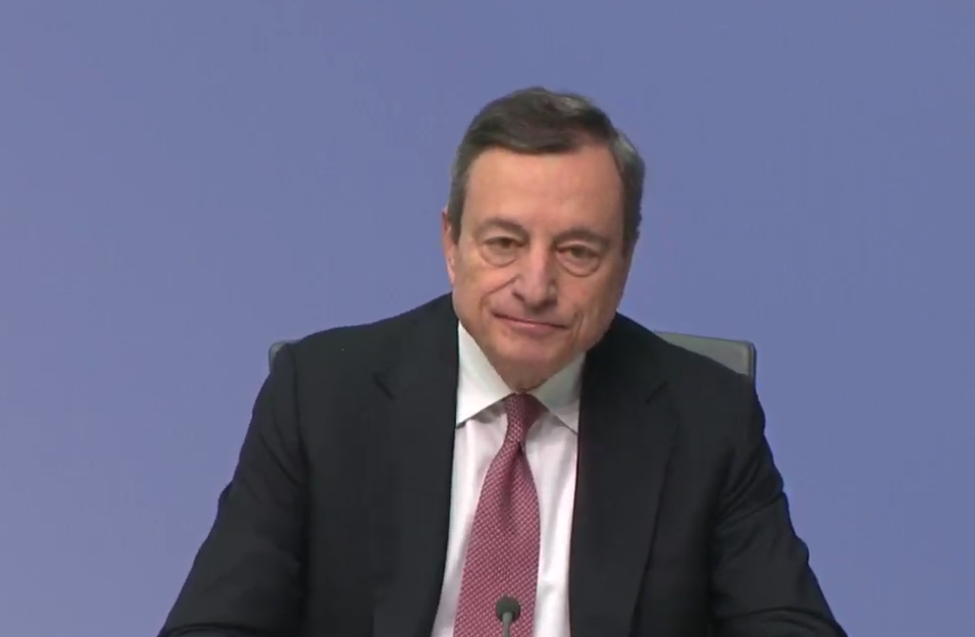 Reporters miss their chance to pressure ECB's Draghi once again.